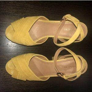 Coach yellow suede platform sandals 8